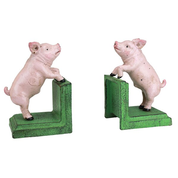Piggy in a Pen Cast Iron Book Ends (Set of 2) by Design Toscano