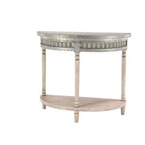 Polson Traditional Fir Wood And Iron Half Round End Table