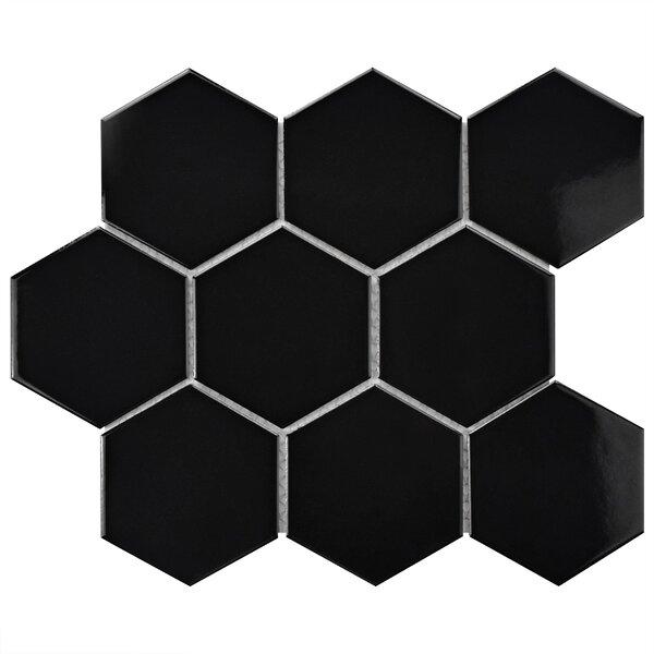 Retro Super Hex 3.73 x 3.73 Porcelain Mosaic Tile in Glossy Black by EliteTile