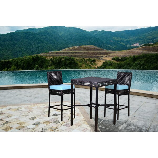 Allura 3 Piece Bar Height Dining Set with Cushions by Wrought Studio