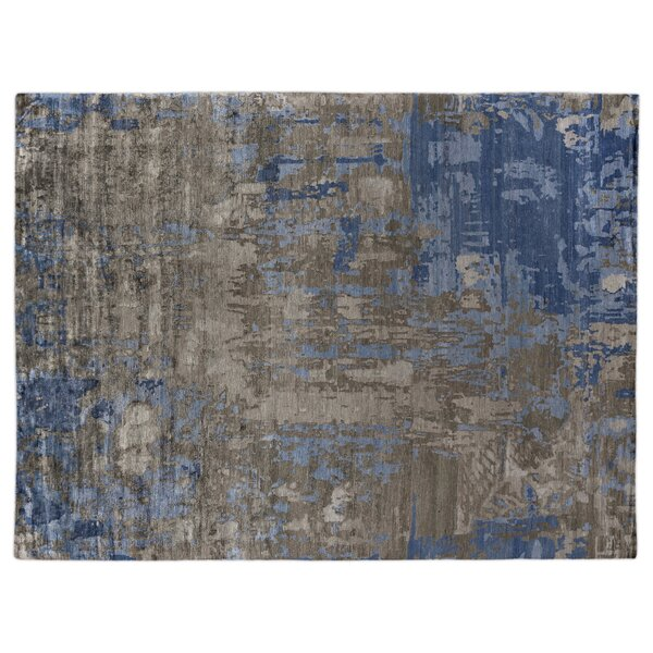 Abstract Expressions Hand Woven Silk Blue/Gray Area Rug by Exquisite Rugs