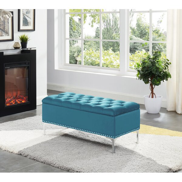 Barrie Storage Bench With Metal Legs - Black Velvet by House of Hampton House of Hampton