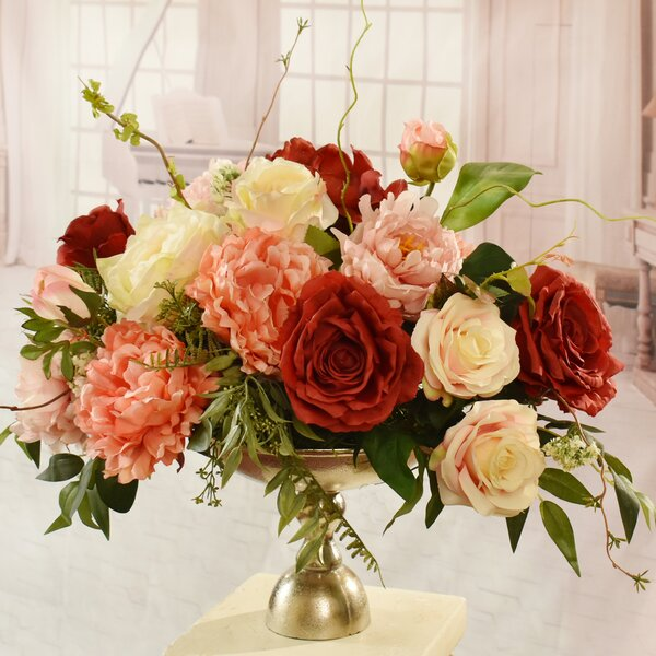 Garden Silk Peonies and Rose Floral Arrangement in Decorative Vase by Rosdorf Park