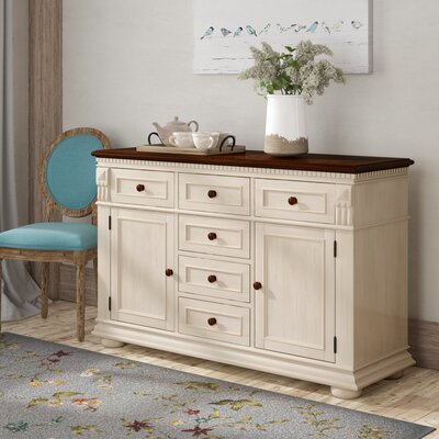 """Darby Home Co Veasley 56.5"""" Wide 6 Drawer Sideboard  Color: Ivory"""