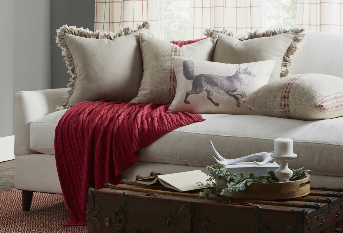 Provence Home Collection Artisan Classic Stripe Linen Throw Pillow  ~ Red Throw Pillows For Sofa