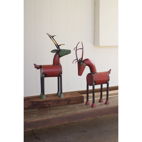 2 Piece Iron Reclaimed Reindeer Set by Gracie Oaks