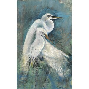 'Egret Pair' by Anthony Morrow Graphic Art Print on Wood by Red Horse Arts