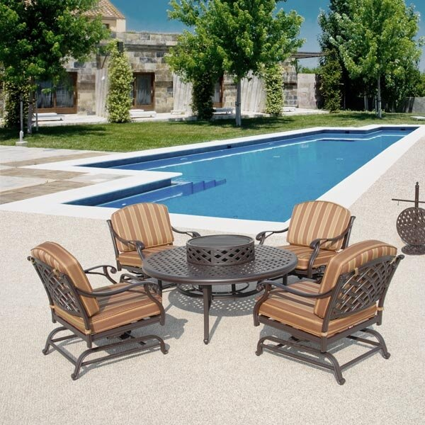 Caswell Fire Pit Set Sunbrella 5 Piece Seating Group with Cushions by Fleur De Lis Living
