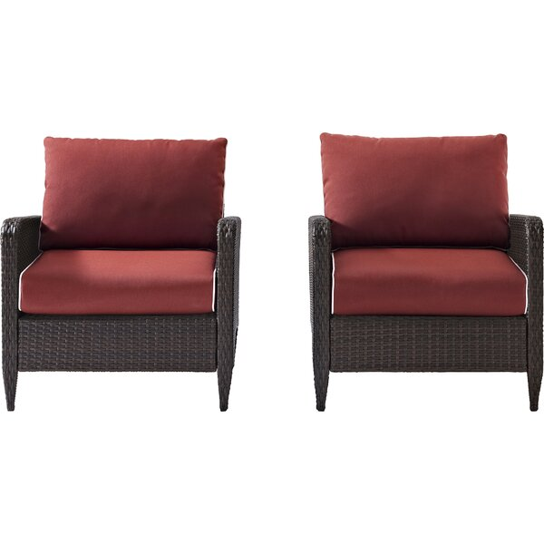 Mosca Patio Dining Chair with Cushion (Set of 2) by World Menagerie