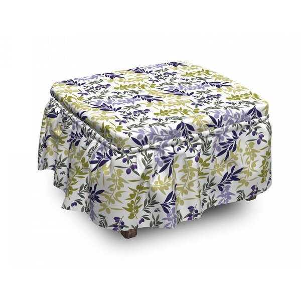 Abstract Olive Tree Branches Ottoman Slipcover (Set Of 2) By East Urban Home