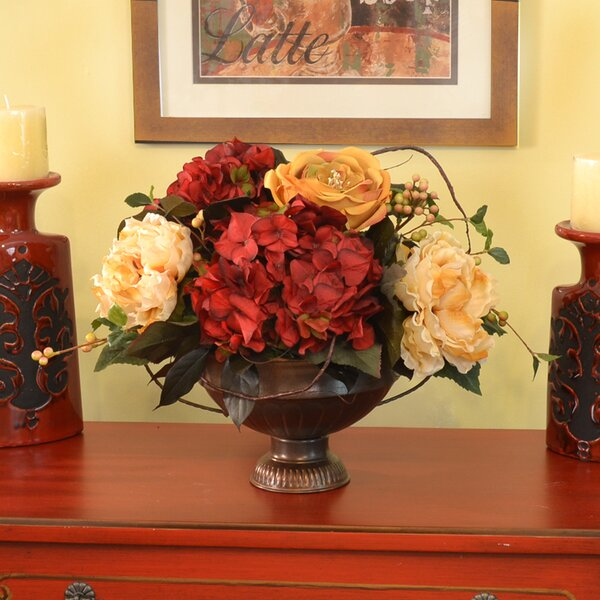 Peonies, Hydrangea and Rose Silk Flower Bouquet by Astoria Grand