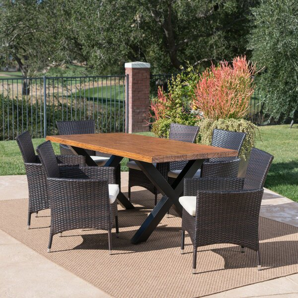 Woodby Outdoor 7 Piece Dining Set with Cushions by Gracie Oaks