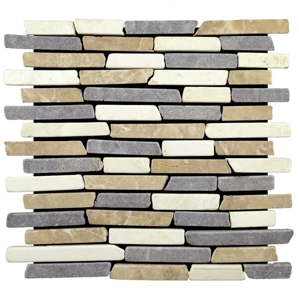 Sticks Random Sized Natural Stone Mosaic Tile in Tan/Grey by Pebble Tile