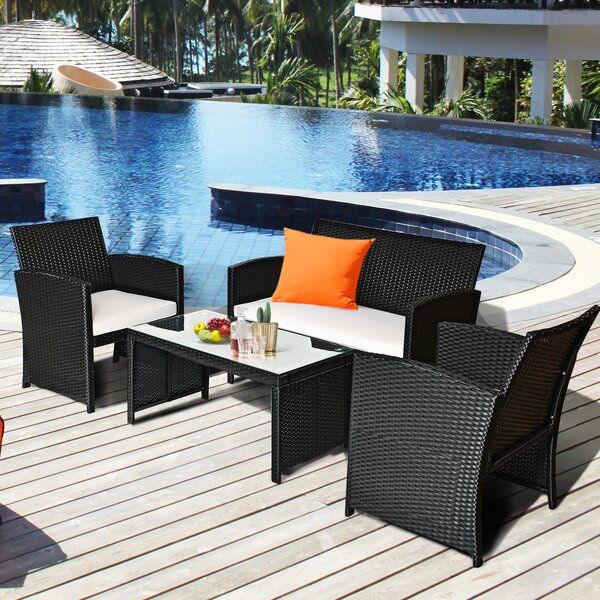 Anastasie Rattan Sofa Seating Group with Cushion by Latitude Run