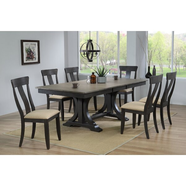 Lou Upholstered 7 Piece Extendable Solid Wood Dining Set by Canora Grey