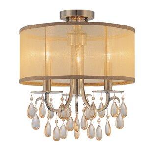 Compare Aayush 3-Light Antique Brass Semi Flush Mount By Willa Arlo Interiors