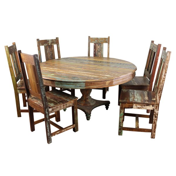 Mcdonnell 7 Piece Solid Wood Dining Set by Bloomsbury Market