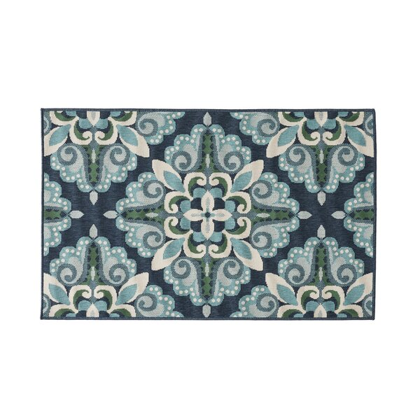 Herrin Floral Blue/Green Indoor/Outdoor Area Rug by Alcott Hill