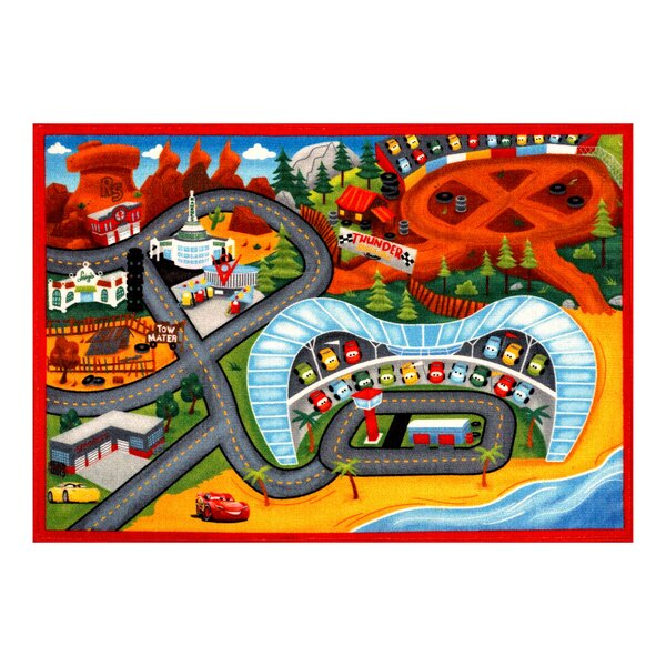 One-of-a-Kind Ladwig Cars 3 Red/Orange Area Rug by Zoomie Kids