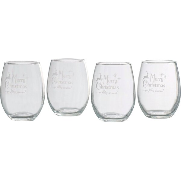 Ya Filthy Animal 21 oz. Stemless Wine Glass (Set of 4) by The Holiday Aisle