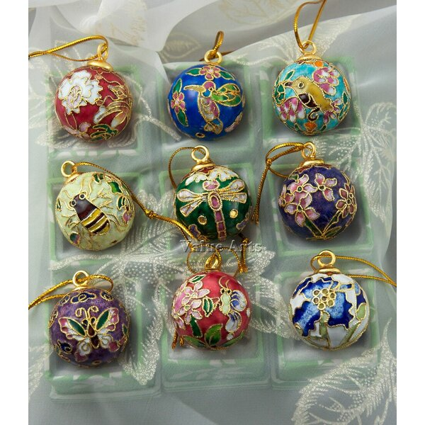 Cloisonne Enamel Ball Ornament Set (Set of 2) by V