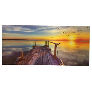 '3D Paint with A Deck To The Lake with Sunset and Seagulls' Graphic Art on Canvas by Creative Motion