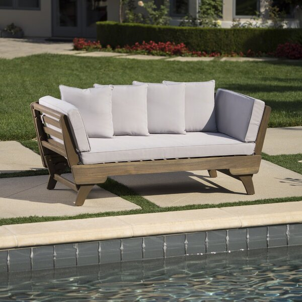 Ellanti Teak Patio Daybed With Cushions By Union Rustic