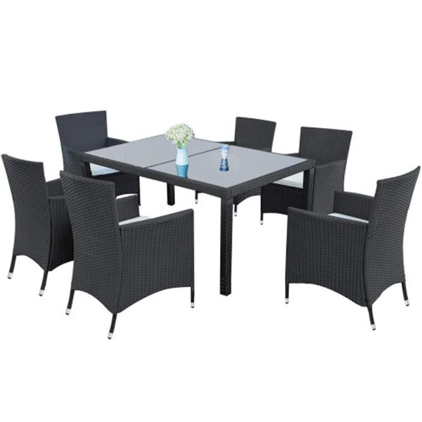 Karlos 7 Piece Multiple Chairs Seating Group with Cushions by Wrought Studio Wrought Studio