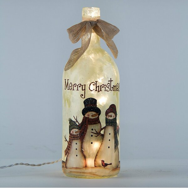Frosted Snowman Family Glass Bottle Light Lamp by Glitzhome