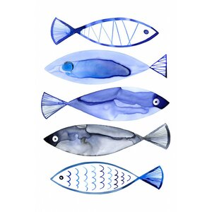 Retro Watercolour Fish Graphic Art on Wrapped Canvas by East Urban Home