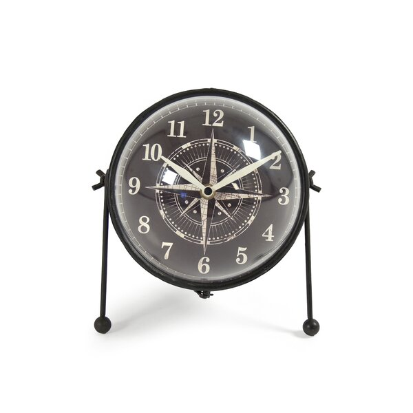 Round Iron Tabletop Clock by Breakwater Bay