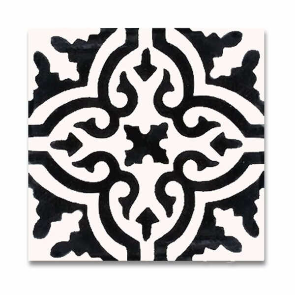 Argana 8 x 8 Handmade Cement Tile in White/Black by Moroccan Mosaic