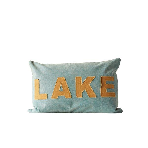 Corneau Lake Cotton Canvas Appliqued Lumbar Pillow by Loon Peak