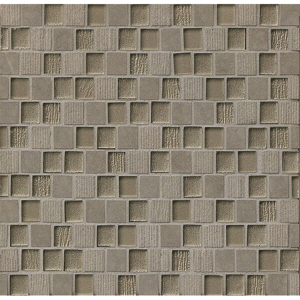 Tessuto 0.75 x 1 Stone and Glass Mosaic Tile in Dark Gray by Bedrosians
