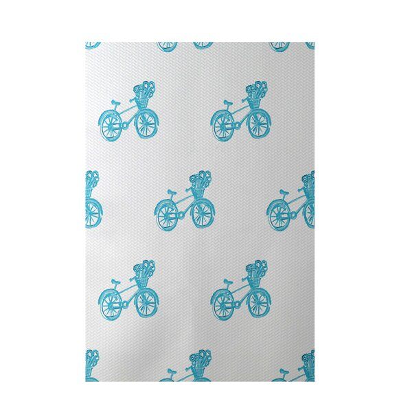 Bicycles! Geometric Print Turquoise Indoor/Outdoor Area Rug by e by design