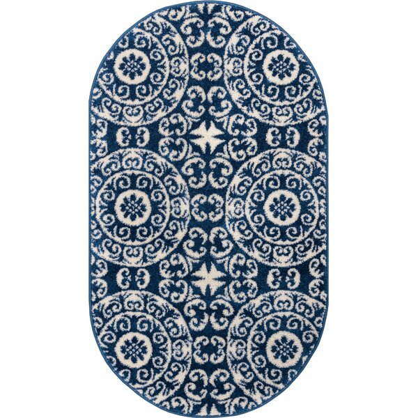 Giles Petra Palatial Power Loom Synthetic Navy Blue Area Rug by Charlton Home