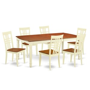 7 Piece Dining Set in Buttermilk/Cherry by East West Furniture