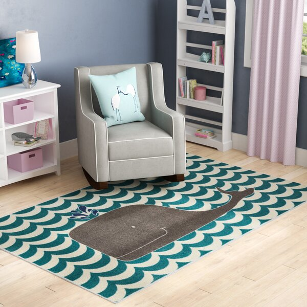 Heimbach Oh Whale Teal/Navy/Grey/Cream Indoor Area Rug by Viv + Rae