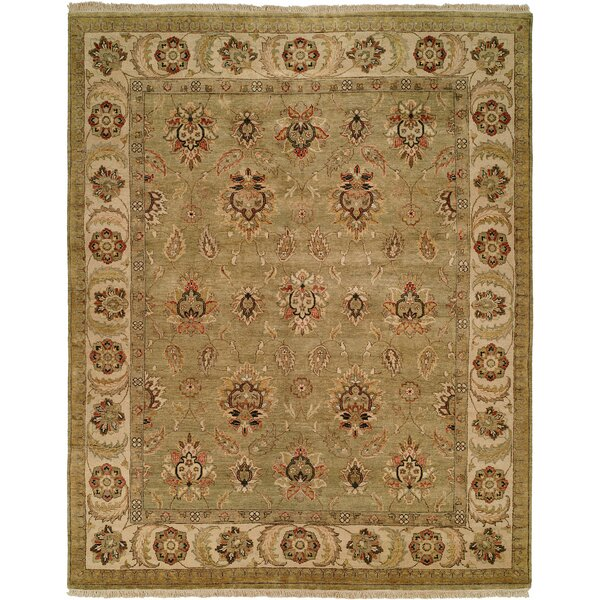 Jubail Hand-Knotted Green/Ivory Area Rug by Wildon Home ®