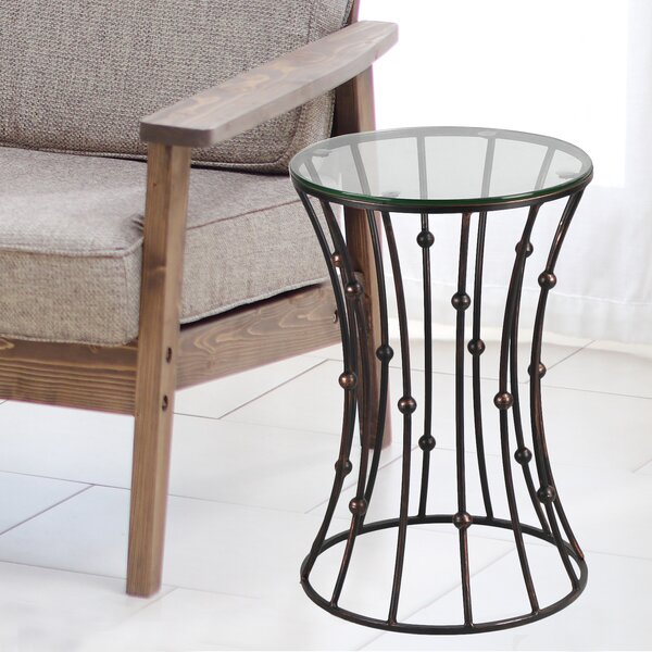 Brushwood Glass Top Metal Side Table by World Menagerie