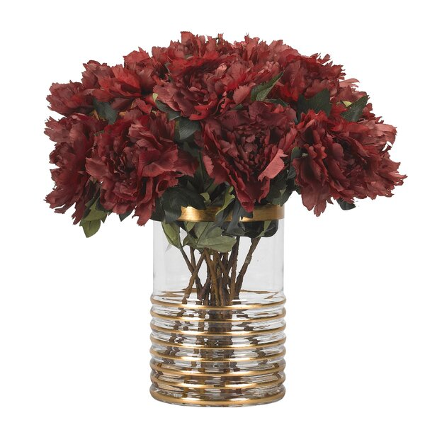 Peonies Floral Arrangement in Glass Vase by Canora Grey