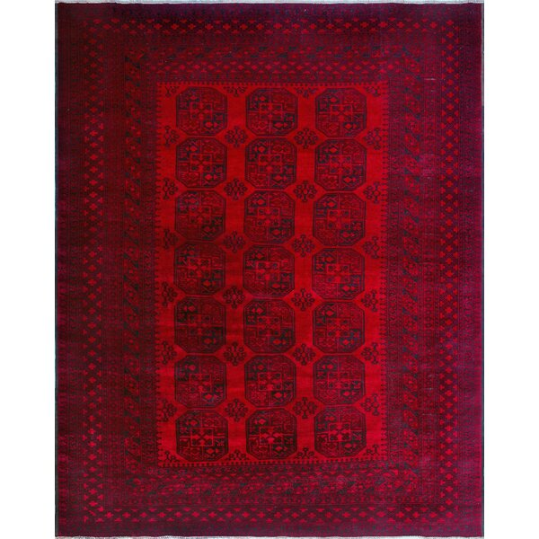 Robby Hand-Knotted Wool Red Area Rug by Bloomsbury Market