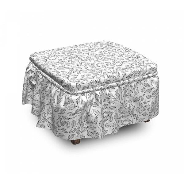 Leaves Mono Floral Rustic 2 Piece Box Cushion Ottoman Slipcover Set By East Urban Home