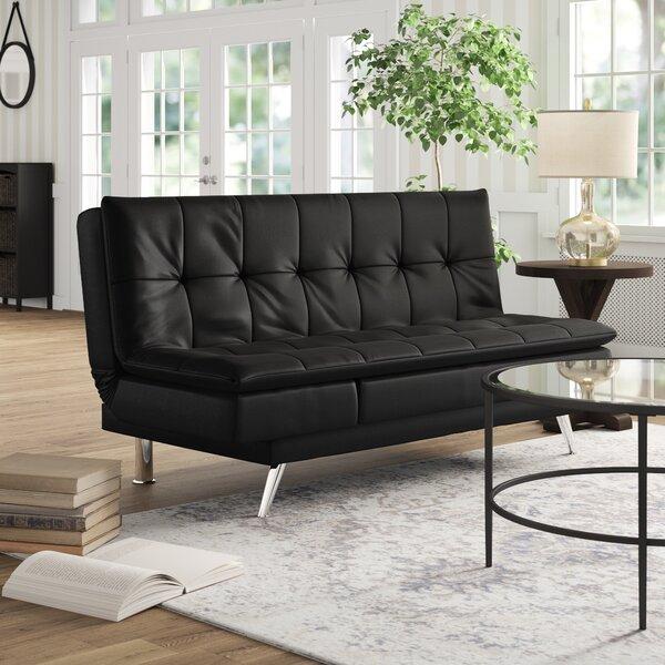 Black Leather Sleeper Sofa by Latitude Run
