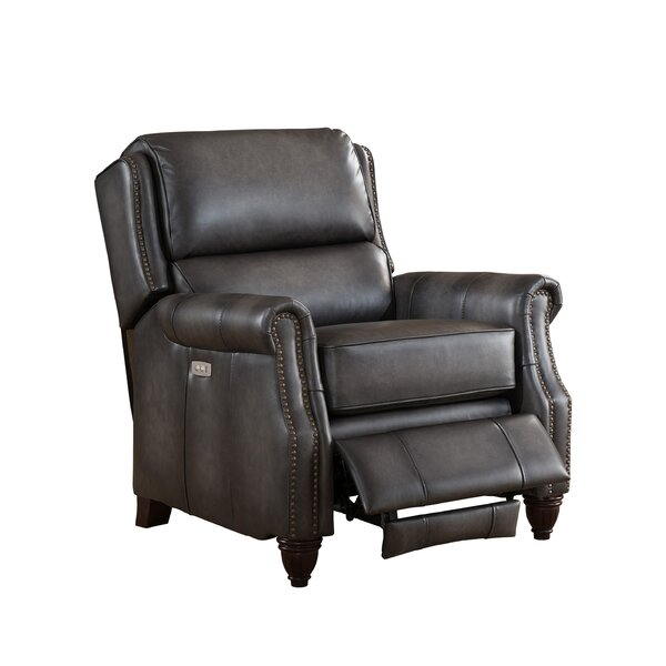 Emery Leather Power Recliner with USB Port by Amax
