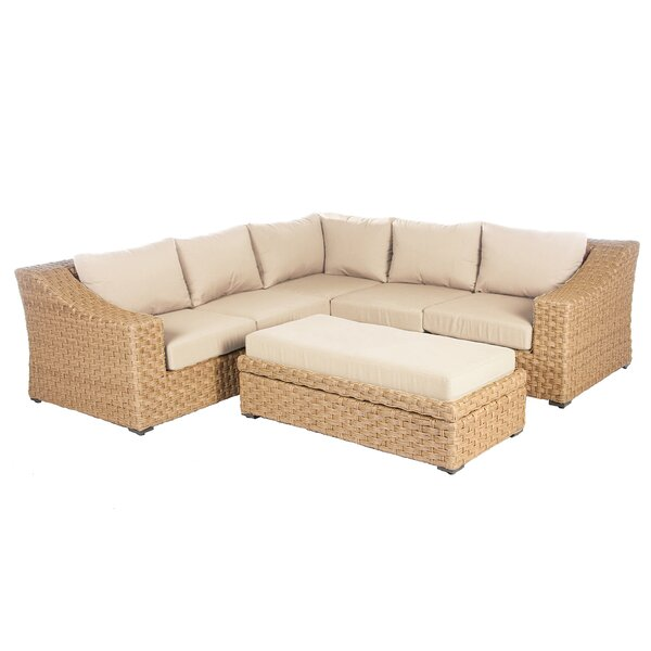 St. Johns 4 Piece Rattan Sunbrella Sectional Seating Group with Cushions by Bay Isle Home