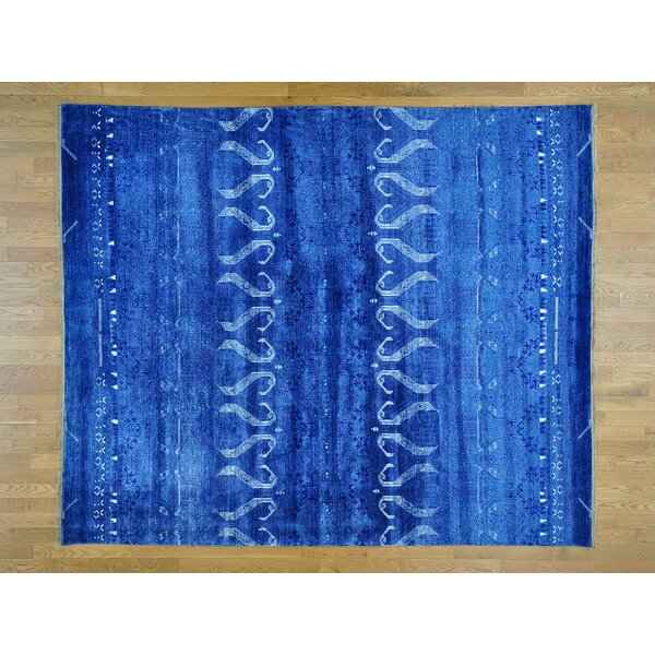One-of-a-Kind Bean Art Hand-Knotted Blue Silk Area Rug by Isabelline