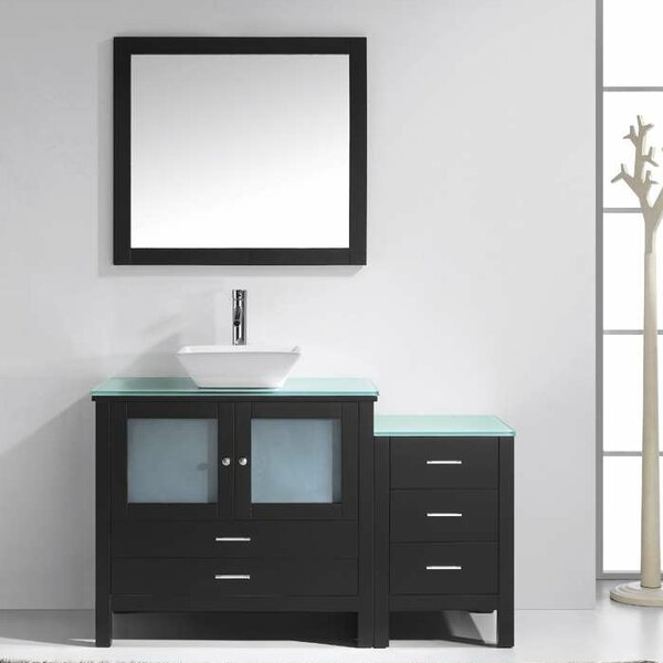 Millan 54 Single Bathroom Vanity Set with Tempered Glass Top and Mirror by Latitude Run