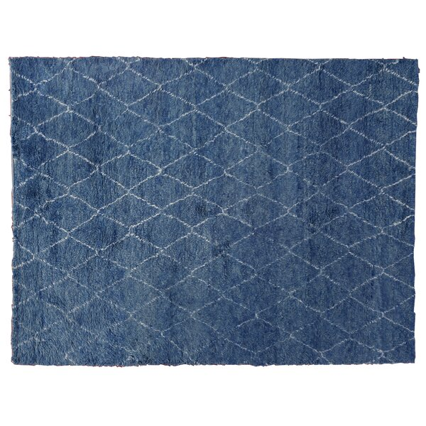 Moroccan Hand Knotted Wool Blue Area Rug by Exquisite Rugs