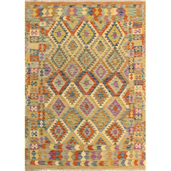 One-of-a-Kind Aalborg Kilim Hand-Woven Brown/Blue Area Rug by Isabelline
